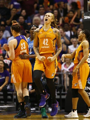 Phoenix Mercury Brittney Griner reacts after a foul against the Minnesota Lynx on Friday, June 30, 2017 at Taking Stick Resort Arena in Phoenix, Ariz.