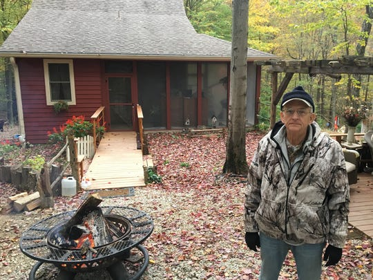 Dave Shoopman in front of his Brown County home in October.