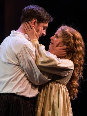 "Quinn Mattfeld plays Will Shakespeare and Betsy Mugavero plays Viola de Lesseps and in the Utah Shakespeare Festival's 2017 production of ""Shakespeare in Love."""