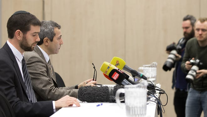 Rabbi Jair Melchior (left) and Dan Rosenberg Asmussen, chairman of The Danish Jewish Community, talk during a press conference following the attacks at the weekend, in Copenhagen, Monday, Feb. 16, 2015.