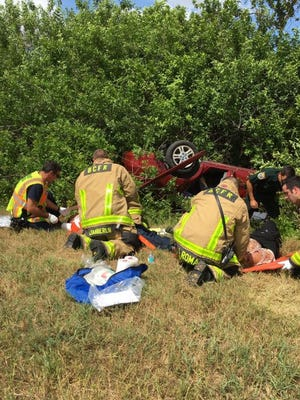 Two were transported to the hospital after a rollover crash on Interstate 95 just north of Wickham Road in Viera on Friday afternoon.