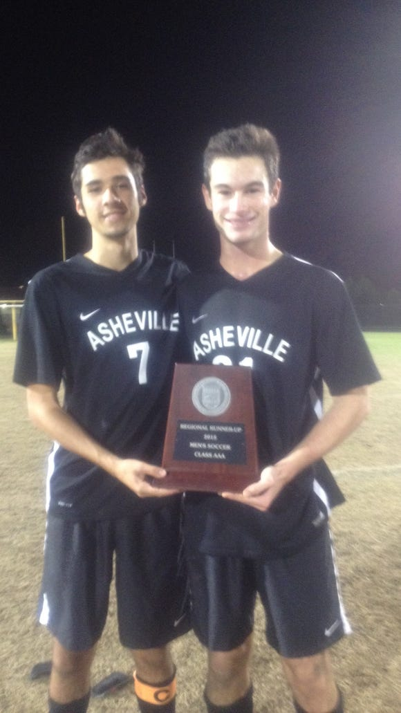 Asheville High's Eion Dockery, left, and Will Jones.