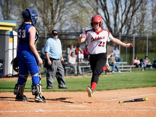 Annville-Cleona's Alyssa Blackman (23) comes home from