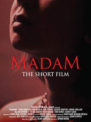 "The poster for the short film ""Madam."""