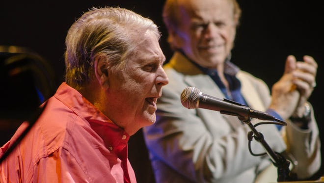 """Brian Wilson (left, front), with fellow Beach Boys co-founder Al Jardine (right, back), performed the classic 1966 album """"Pet Sounds"""" in full at the Riverside Theater Wednesday."""