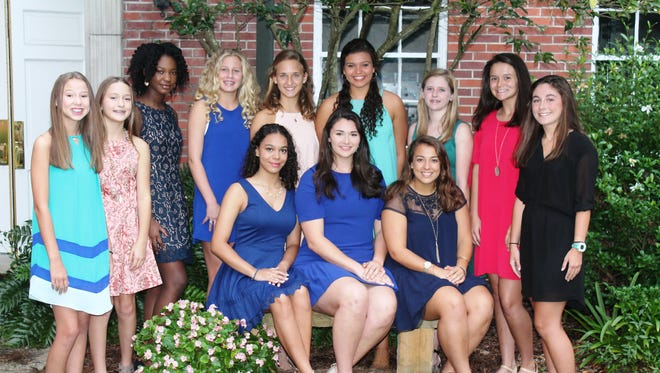 The following Sacred Heart students were selected by their classmates as maids: Back Row,7th Grade: Samantha Alliston and Sarah Gallardo; 8th Grade: Katie Palmer (not pictured) and Laila Barnes; 9th Grade: Lauren Jones and Kitty Grace Berry; 10th Grade: Gabby Falla andSloan Mulloy; 11th Grade: Olivia Happ andShae Rutland; Front row,12th Grade: Mina Burton and Anna Runnels; and Football Maid: Mariana Moreno.