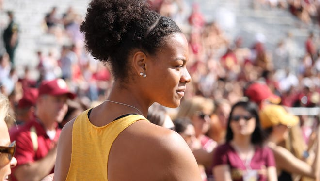 Valencia Myers on the sidelines before FSU's game vs. Louisville.