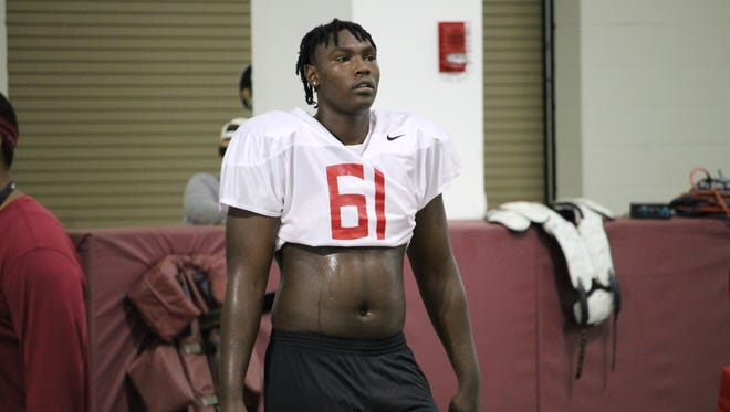 2019 three-star Charles Cross works out at the FSU Big Man Camp in 2018.