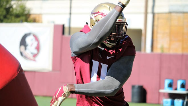 FSU DE Janarius Robinson during the second practice of fall camp in 2018.