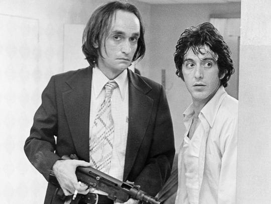 John Cazale (left) and Al Pacino play bank robbers