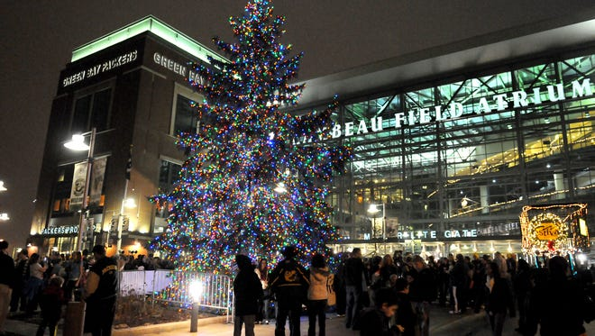 This year's Lambeau Field Christmas tree will be unveiled at 6:30 p.m. Dec. 5.