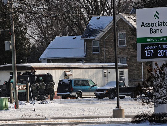 A police standoff at The Elms Mobile Home on Monday,
