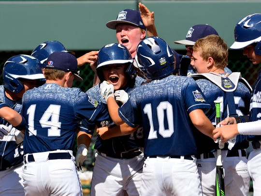 In this file photo, Red Land celebrates a home run against Japan in the Little League World Series Championship game Sunday August 30, 2015. John A. Pavoncello - jpavoncello@yorkdispatch.com