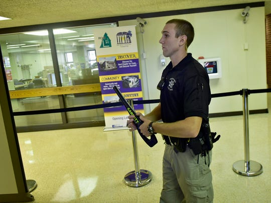 Sheriff's Deputy Spencer Taylor waits for visitors Monday, September 12, 2016 at the Franklin County Courthouse. County buildings are changing the way they secure the facilities.