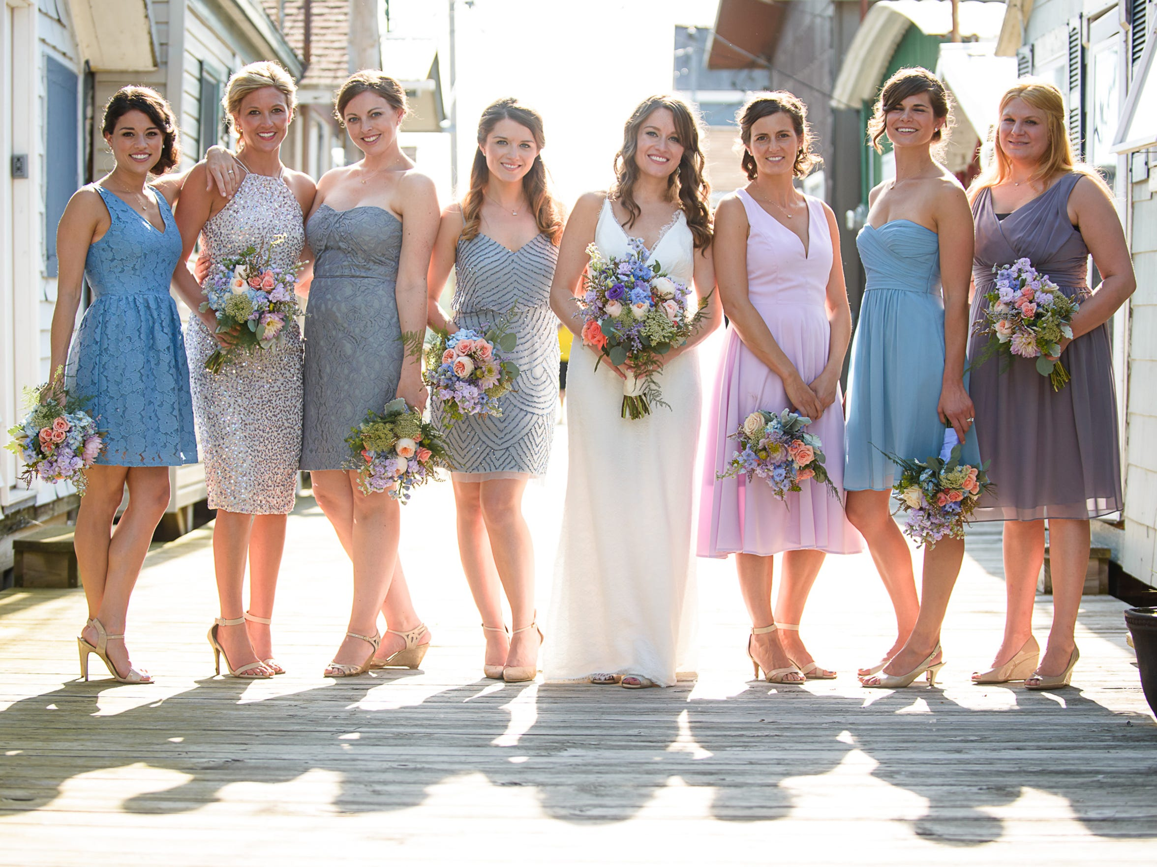 Mix-and-match bridesmaid dresses
