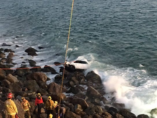 Rescue crews with Ventura County Fire work Tuesday