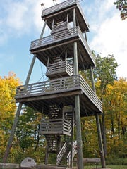 An observation tower at the top of Powder Hill at Pike