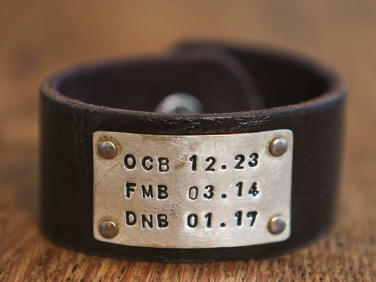 One of Natalie Bajandas favorite things is this bracelet with the birth dates of her three children.