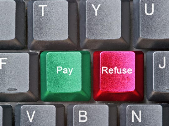 Keyboard with hot keys for pay and refuse