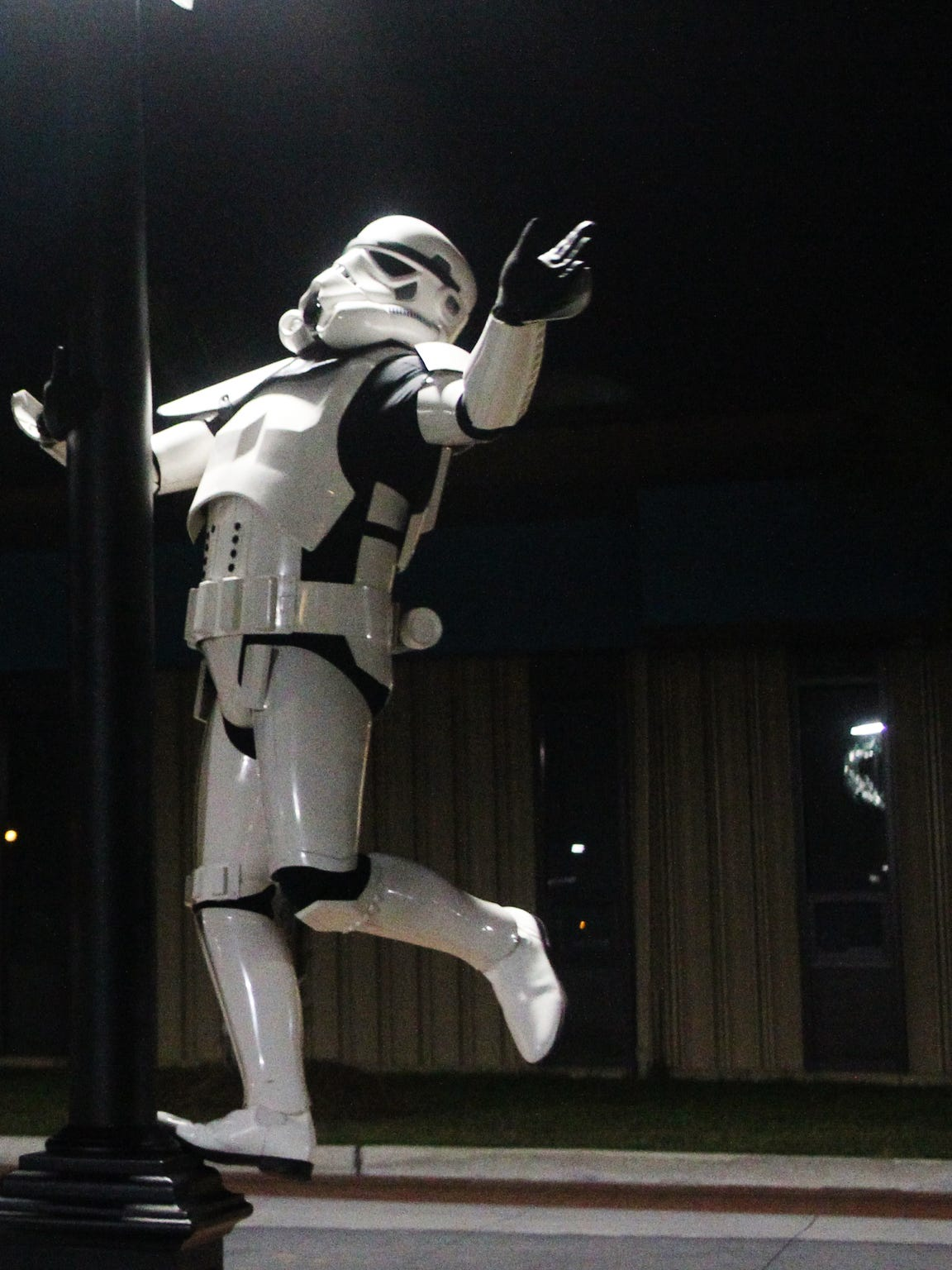 Paul Cassidy, a member of the 501st Legion, poses in Cascades Park in his homemade stormtrooper outfit.