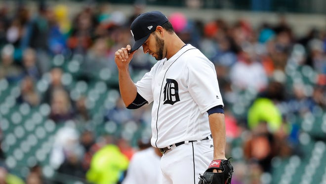 Detroit Tigers relief pitcher Anibal Sanchez reacts to allowing a Minnesota Twins Max Kepler three-run home run in the fifth inning in Detroit, Thursday, April 13, 2017.