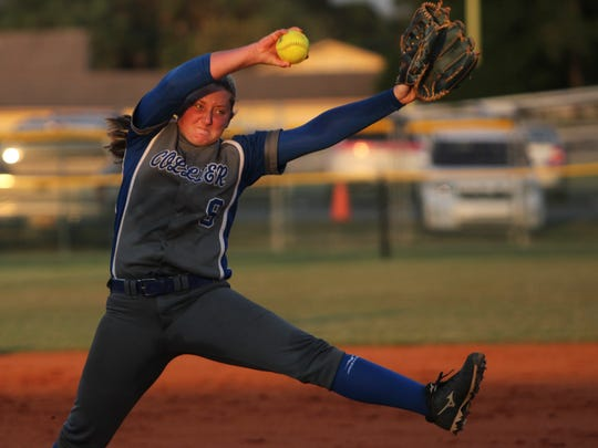 Barron Collier starter Tori Sutherland pitches during the North Fort Myers-Barron Collier  Region 3A-3 softball game Tuesday, April 26, 2016, in North Fort Myers. (Sarah Coward/The News-Press)