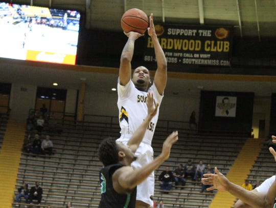 Southern Miss' Cortez Edwards goes up for a shot during