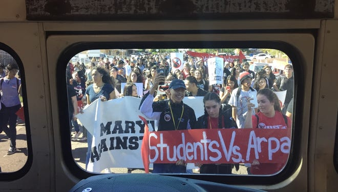 Hundreds of Maryvale High School students walked out of class on Tuesday around 1 p.m. to demonstrate against Maricopa County Sheriff Joe Arpaio.