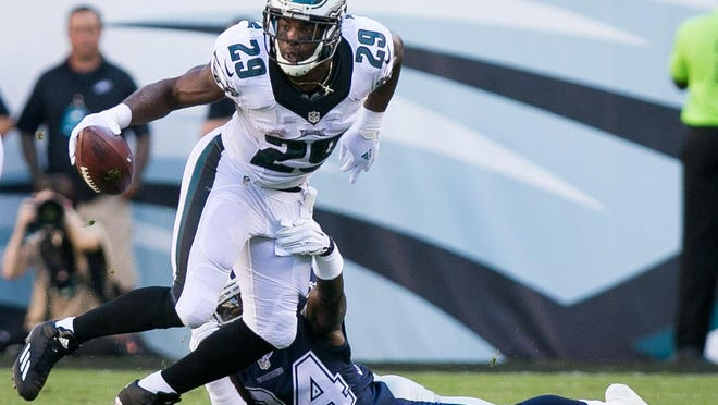 Eagles running back DeMarco Murray is stopped for a short gain in the first quarter. The Philadelphia Eagles host the Dallas Cowboys in their home opener at Lincoln Financial Field.