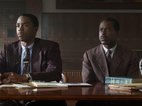 "Thurgood Marshall (Chadwick Boseman) defends Joseph Spell (Sterling K. Brown) in ""Marshall."""