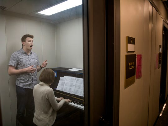 Aryeh Nussbaum Cohen, a countertenor, practices with