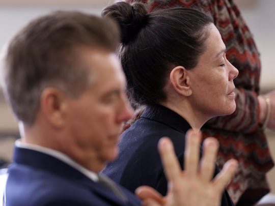 Defense attorney Edward Bilinkas and Virginia Vertetis before the start of closing arguments in Vertetis' murder trial. Vertetis says she fatally shot boyfriend Patrick Gilhuley to death as he tried to beat and choke her at her Mount Olive home in 2014. March 30, 2017, Morristown, NJ