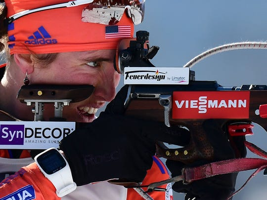US's Susan Dunklee competes during the 2017 IBU World Championships Biathlon Women's 12,5 km Mass start race in Hochfilzen on February 19 , 2017.
