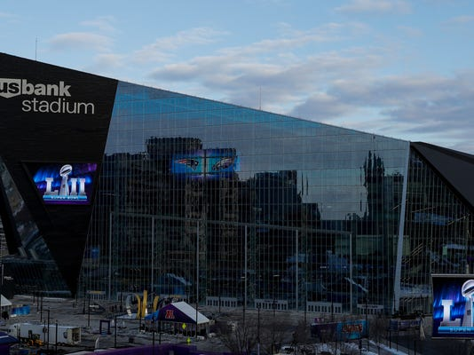 U.S. Bank Stadium is seen Wednesday, Jan. 31, 2018, in Minneapolis. The NFL Super Bowl 52 football game will be played Sunday, Feb. 4, 2018. (AP Photo/Matt Slocum)