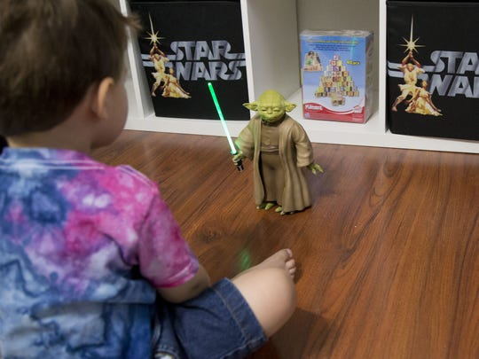 Elliott Stewart, 2, plays in his brother's nursery in their Chandler home on May 10, 2018. Stewart's parents are huge Star Wars fan and named their 6-day-old  Lucas Skywalker Stewart who by the way was born on May the 4th.