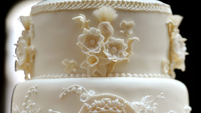A small section of a wedding cake.