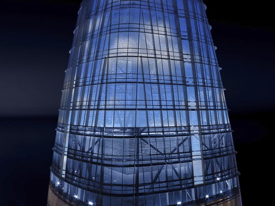 In this image depiction provided by LED artist Jim Campbell, an illuminated blue sky with puffy clouds is displayed on the nine-story electronic art installation atop San Francisco's Salesforce Tower currently under construction. This is being touted as the tallest public art installation in the United States and will be visible from almost anywhere in San Francisco.