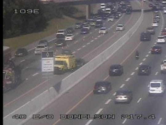 An accident on I-40 slows traffic.