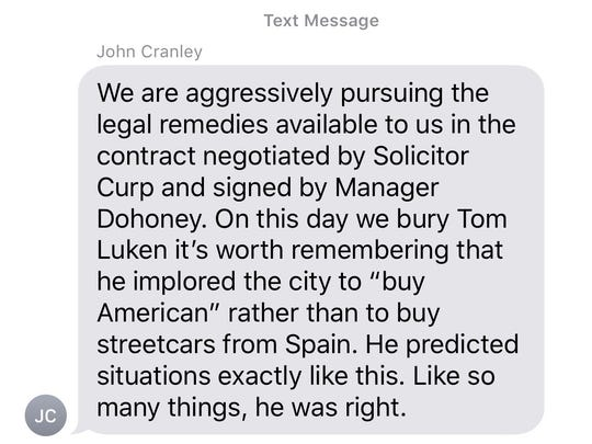 Screen capture of a text message from Cincinnati Mayor John Cranley