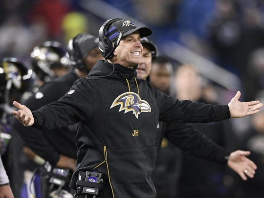 Ravens coach John Harbaugh has received a new four-year