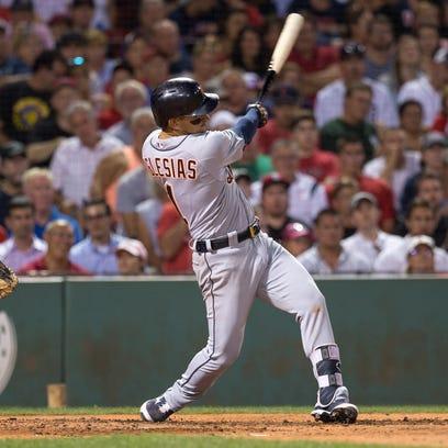 Tigers shortstop Jose Iglesias hits a two-run home