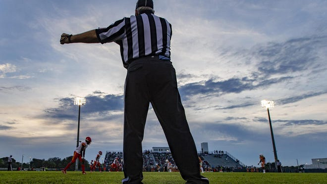 Officials resolved a pay dispute just in time this past season to referee pre-season Kickoff Classic games, including this one between Deerfield Beach and Atlantic in Delray Beach on August 15, 2019.