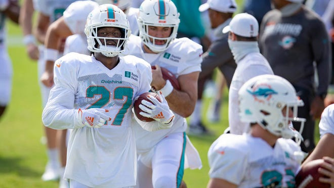 Running back Kalen Ballage at Dolphins training camp last week.