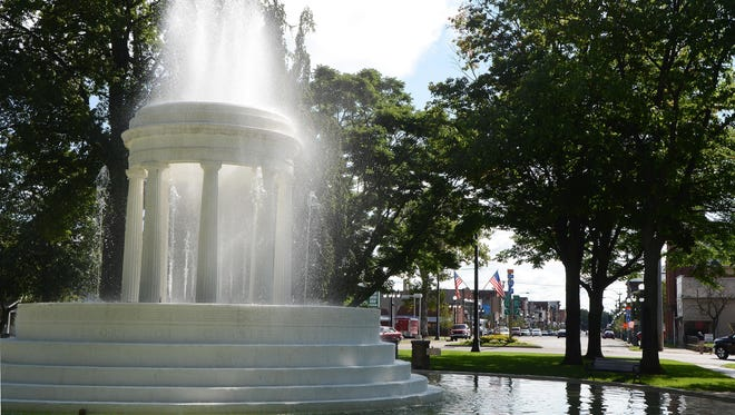 The Brooks Memorial Fountain and Michigan Avenue in downtown Marshall in 2013. The Brooks Memorial Fountain and Michigan Avenue in downtown Marshall in 2013.