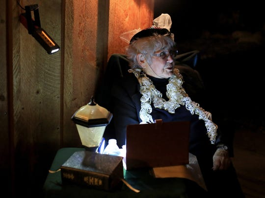 """Lola Butcher portrays Margaret Grambs during Silver Reef's """"Ghost Nights"""" in Leeds."""