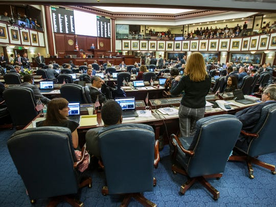 Florida Rep. Kristin Diane Jacobs, speaks on the gun safety bill in the House chamber at the Florida Capital in Tallahassee, Fla., Wednesday, March 7, 2018. (AP Photo/Mark Wallheiser)