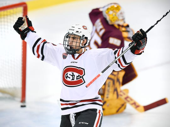St. Cloud State's Robby Jackson celebrates his goal against the University of Minnesota-Duluth 53-seconds into the first period Saturday, Nov. 5, at the Herb Brooks National Hockey Center.
