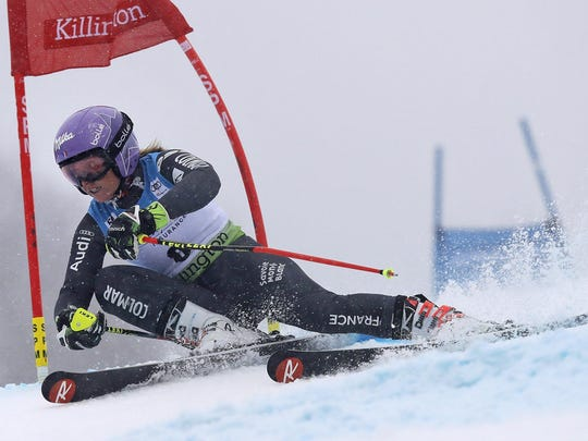 Tessa Worley of France competes during the second run
