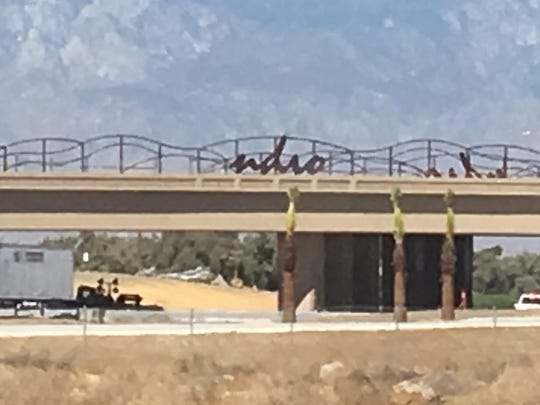 A sign for Indio is missing a letter on the Interstate 10 interchange at Jefferson Street. Officials blamed the absence on a shipment issue.