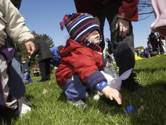 Nathan Callis, of York, had a hard time seeing during a previous Easter egg hunt at Kiwanis Lake. This year's hunt - as well as another free city event - is coming up soon. Photo by Jason Plotkin